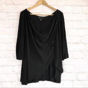 NWOT Lane Bryant draped black blouse
